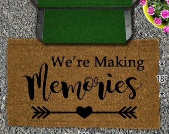 We're Making Memories -  Coir Doormat - 18x30 - Welcome Mat - House Warming - Mud Room - Gift - Camping - Campsite
