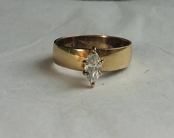 Vintage Gold Vermeil Sterling Silver Ring Marquise Clear Stone sz9