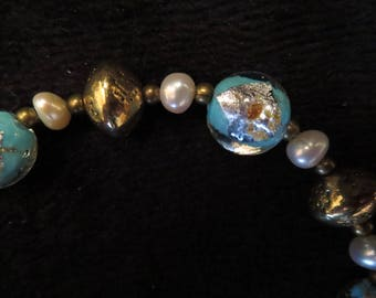 Bracelet gold dust and cultured pearls