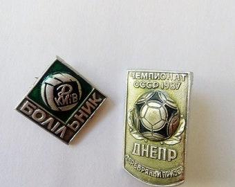Soviet football badges sport badges Soviet soccer teams Ukrainian football teams Dynamo Kiev collectible Football fan gift Soviet pin badges