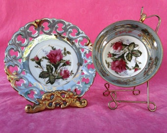 Vintage Royal Sanly Footed Teacup and Saucer Lusterware Set Made in Japan with Pink Rose and Gilding