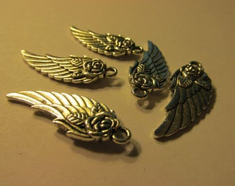 Silver Tone Angel Wings with Rose Motif Charm-Pendant, 30mm, Set of 5