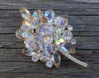 Large Aurora Borealis Brooch ~ Statement Pin