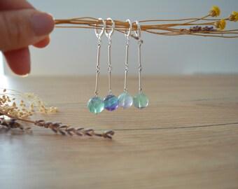 Long Silver Fluorite beaded silver bar Earrings, 925 silver leverback earrings, 925 silver dangle boho summer earrings, silver stud earrings
