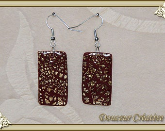 Earrings red gold and Burgundy 104033