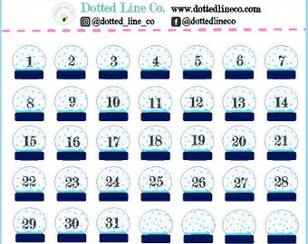 Snow globe Date Covers Countdown Planner Stickers| Winter Christmas Countdown Stickers | Erin Condren | Happy Planner | Planner Stickers