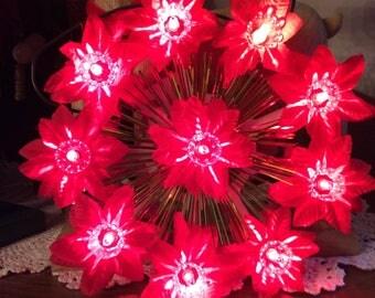 Vintage Poinsettia 10 lights Christmas tree top ornament blinking