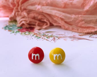Polymer clay food inspired M&M earrings, studs, handmade