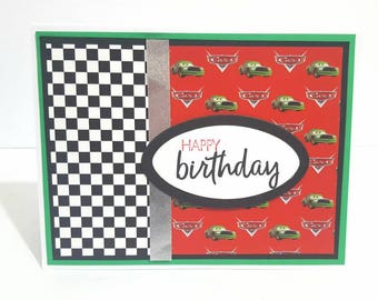 Cars Birthday Card, Disney Cars Handmade Greeting Card