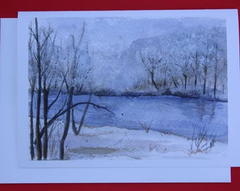 """Winter Holiday Greeting Card Perfect for Christmas or Winter Solstice - 5 x 7"""" Folded Card with Envelope"""