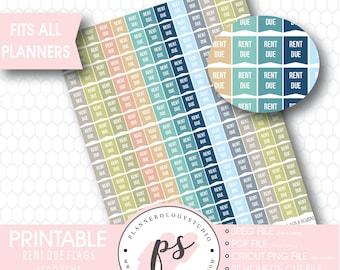 Rent Due Flags Printable Planner Stickers | Frozen Colour Scheme | JPG/PDF/Silhouette Cut File