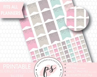 Silver Glitter Specks Flags Printable Planner Stickers | Ballerina | JPG/PDF/Silhouette Compatible Cut Files