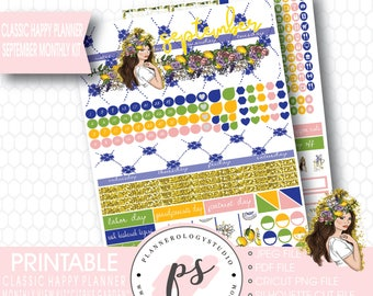 Citrus Garden September 2017 Monthly View Kit Printable Planner Stickers (for Mambi Classic Happy Planner)   JPG/PDF/Silhouette Cut File