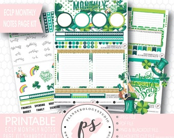 Shamrock Luck Monthly Notes Page Kit Printable Planner Stickers (for Erin Condren ECLP) | JPG/PDF/Silhouette Cut File/Blackout Files