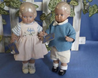 Cute little couple of Schildkroet dolls, Baerbel and Hans, 18 cm tall, very good condition
