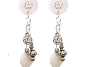 Serena white clip earring
