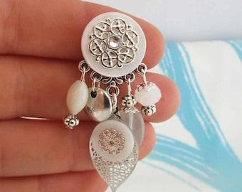Earrings clips Spring white Leaves (made in France)