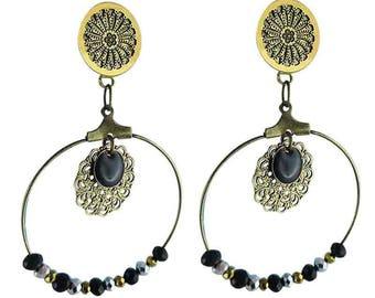 Black Luxor clip earring