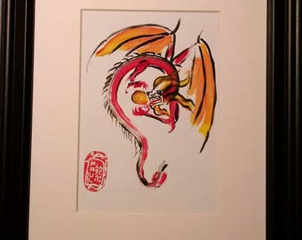 Original Sumi-e Asian style painting eclipse dragon eating the sun
