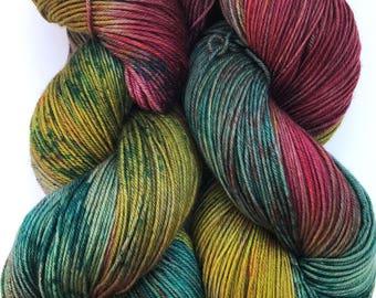 Deorc Alaqua  -Hand dyed yarn, sock weight, Superwash Merino, Cashmere,Nylon 435 yards, Speckled yarn