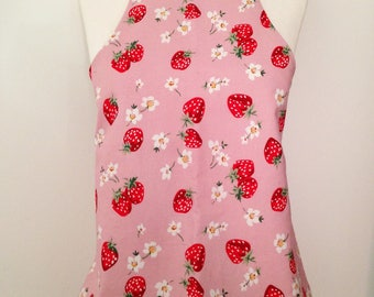 Vintage fabric apron strawberries