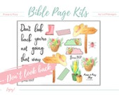 "Bible Journal Page Kit ""Don't look back"". Great for Bibles, Journals & Planners. Fits all journaling Bibles! Digital, printable stickers."