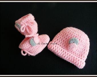 PINK HAT + BOOTIES CROCHET BABY SET
