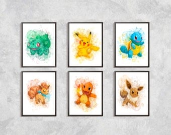 pokemon print pokemon set print pokemon watercolor pikachu printeevee print