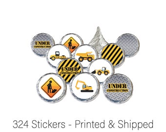Construction Birthday Party Favors - Under Construction Baby Shower Favors -Stickers for Hershey Kisses, Envelope Seals & Candy (Set of 324)
