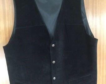 Ciro Citterio, black suede leather waistcoat, XL
