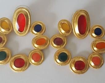 Multicolored Enamel Gold Wreath Earrings, Vintage Gold Tone and Enamel Earrings, Possible Anne Klein for Parisian Earrings