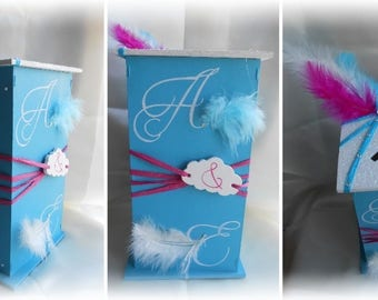 urn wedding white and turquoise cloud