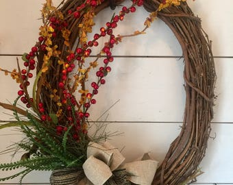 High Quality Rustic Fall Berry Wreath, Fall Wreath, Front Door Wreath, Autumn Wreath,  Large