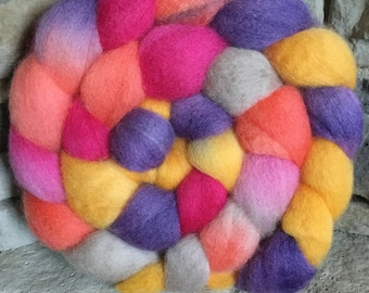 BFL Hand Painted Combed Top - Spinning Fiber - Feltable - approx. 4 ounces each - PLAYTIME