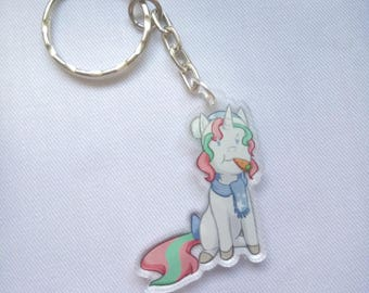 Cute Winter Unicorn Keyring