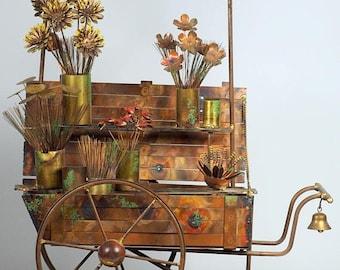 VALENTINE DAY SALE Curtis Jere Flower Cart Sculpture