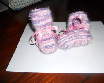Handmade, pink, purple, white baby booties 0/6 months