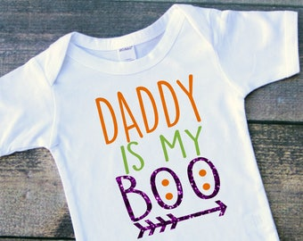 Daddy is my boo Halloween baby girl bodysuit toddler tshirt