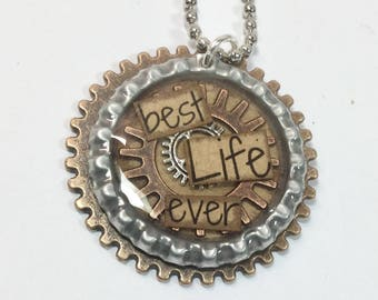 Best Life Ever Necklace Gears Steampunk - Brown