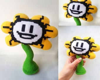 Undertale inspired - Flowey plush, handmade soft toy, 7 in high, stands on flat surface, undertale plush, flower undertale