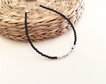 Evil eye bracelet, dainty bracelet, mother of pearl evil eye, gift jewerly
