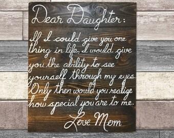 Dear daughter sign - Special daughter, little girls sign, large nursery sign, large wooden sign, i love my daughter, daughter room, daughter