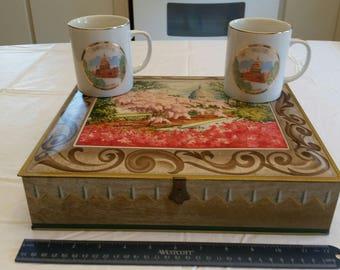 vintage u.s. capitol washington dc sunshine biscuit metal tin box w/ cherry blossoms & 2 coffee mugs / cups w/ gold trim  porcelain 1960 's