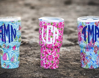 Monogrammed Stainless Steel Tumbler 30 oz. Personalized Custom Lilly  Tumbler, Gift for Her Bride Tumbler Bridesmaid Wedding Party