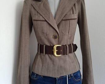 Brown jacket.