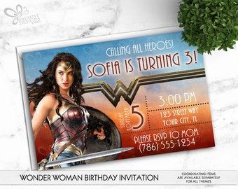 Wonder Woman Birthday Invitation-Personalized-Digital Printable File
