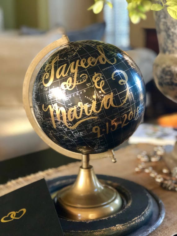 Custom Calligraphy Black and Gold Globe / Your Choice of Wording / Calligraphy Globe / Custom Options / Wedding Guest Book/Nursery/Gift