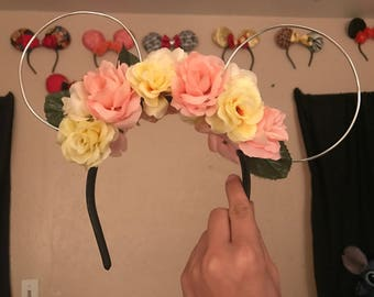 Spring colored floral wire mouse ears