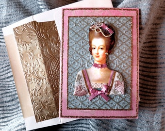 Marie Antionette 3D card,French royalty card,3D Marie Antoinette card,Marie Antoinette birthday card,antique French card,Let them eat cake