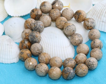 12mm Faceted Brown  jasper bead,brown   beads, Gemstone, Natural Bead,  jasper,12mm Quartz Bead,Full Strand (30 Pieces),SKU/MRY27